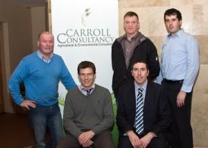 Carroll Consultancy Farmer Meeting Arthur Bredin Progressive Genetics, Brendan Mullaney Vet, John Coleman Aurivo Co-Op, Joe Burke Bord Bia and Breian Carroll Carroll Consultancy