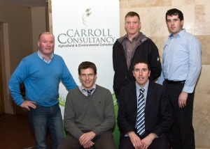 Carroll Consultancy Farmer Meeting Arthur Bredin Progressive Genetics, Brendan Mullaney Vet, John Coleman Aurivo Co-Op, Joe Burke Bord Bia and Breian Carroll Carroll Consultancy